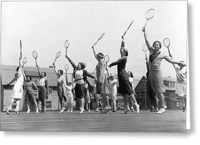 Sportswoman Greeting Cards - Women Practicing Tennis Greeting Card by Underwood Archives