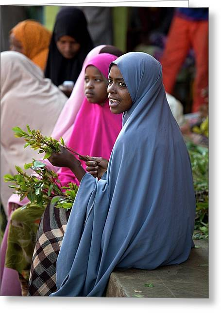 Women Selling Chat In The Harar Market Greeting Card by Tony Camacho