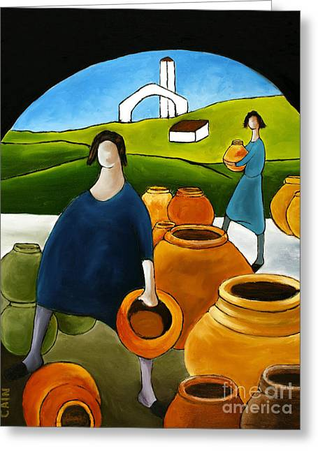 William Cain Greeting Cards - Women Selling Pots Greeting Card by William Cain
