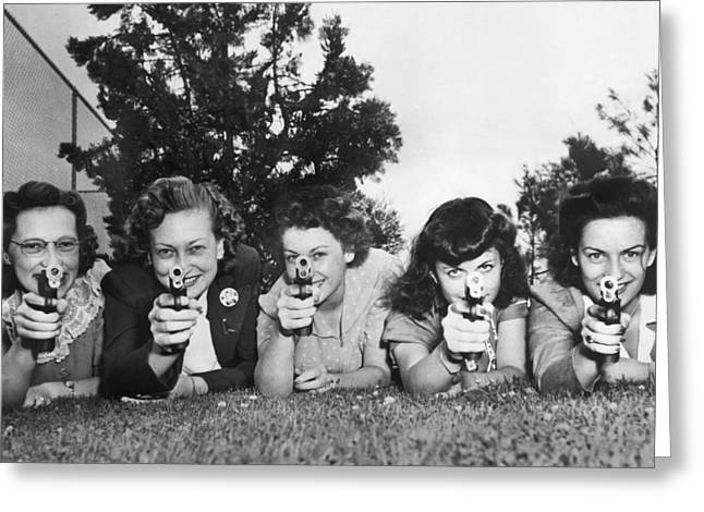 Women Take Weapons Training Greeting Card by Underwood Archives