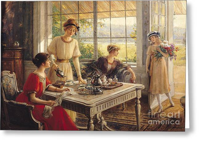 Bouquet Greeting Cards - Women Taking Tea Greeting Card by Albert Lynch