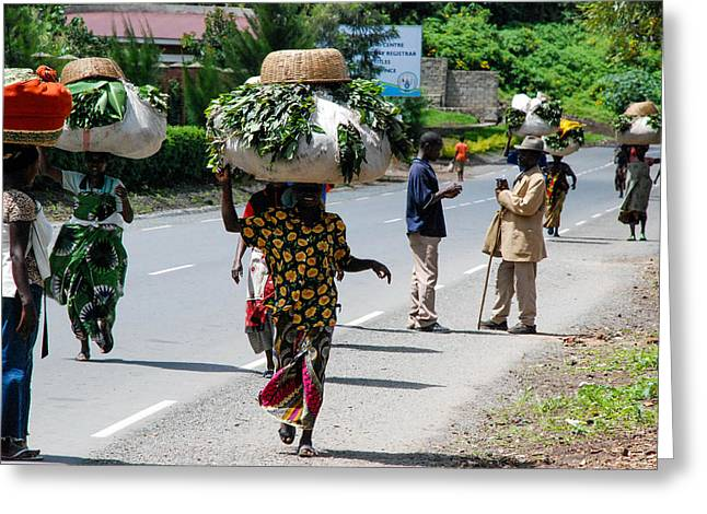 Geobob Greeting Cards - Women Toting Farm Products on Heads Gisenyi Rwanda Africa Greeting Card by Robert Ford