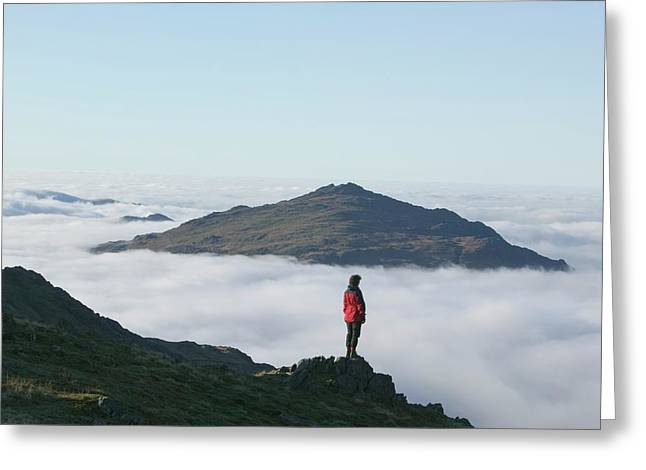 Women Walker Looking Towards Harter Fell Greeting Card by Ashley Cooper