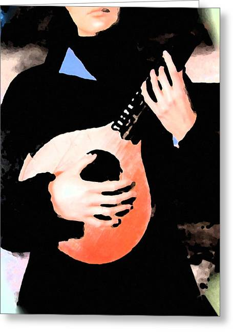 Colette Greeting Cards - Women With Her Guitar Greeting Card by Colette V Hera  Guggenheim
