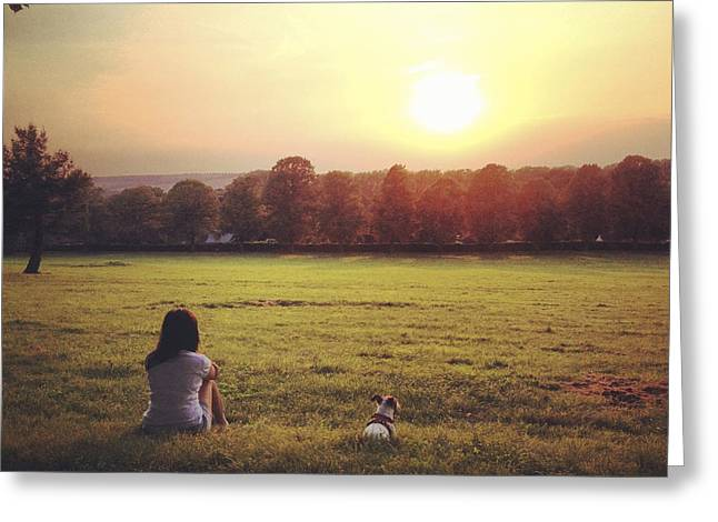 Women Only Greeting Cards - Women with Jack Russell dog watching the sunset Greeting Card by Project B