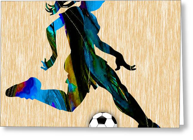 Girls Soccer Art Greeting Cards - Womenns Soccer Greeting Card by Marvin Blaine