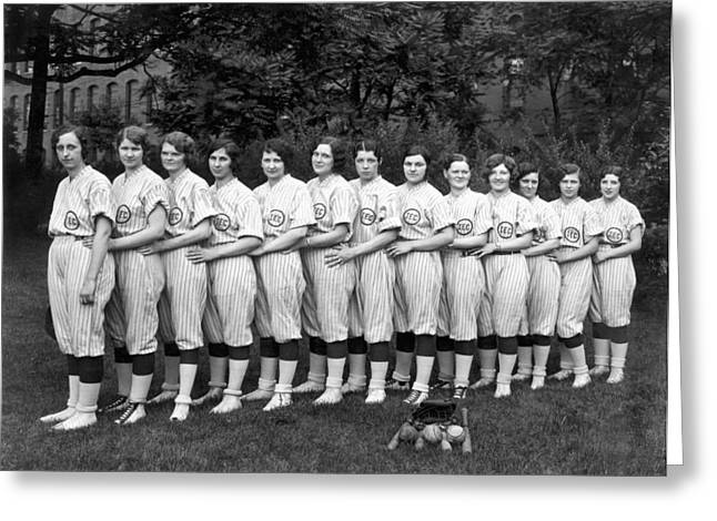 Women's Baseball Team Greeting Card by Underwood Archives