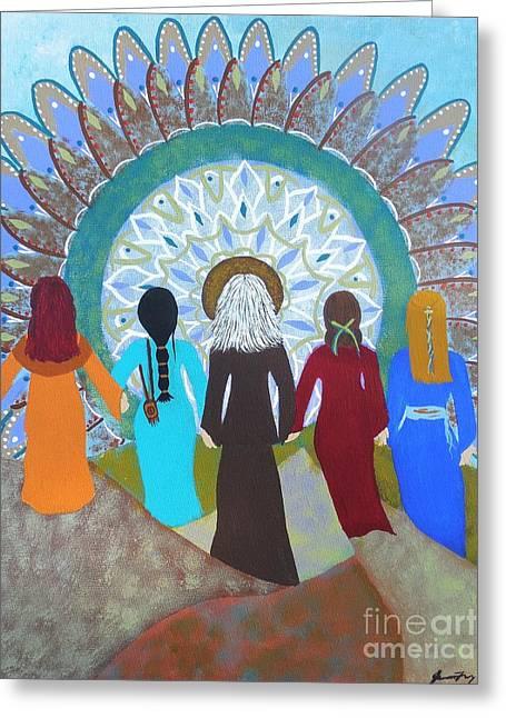 Empowerment Greeting Cards - Womens Circle Mandala Greeting Card by Jean Fry