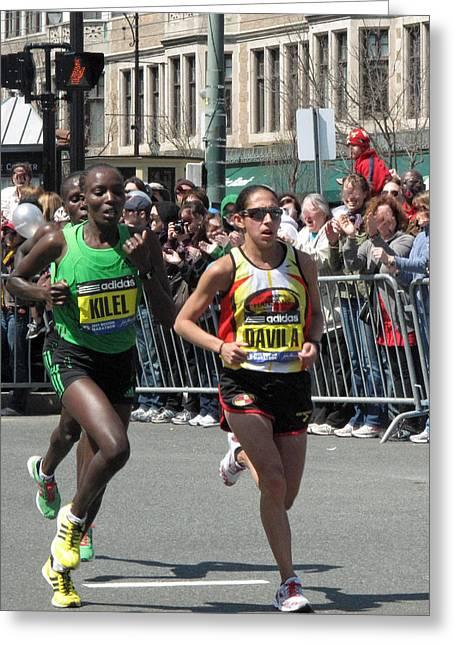 Marathon Champion Greeting Cards - Womens Elite Winners Greeting Card by Barbara McDevitt