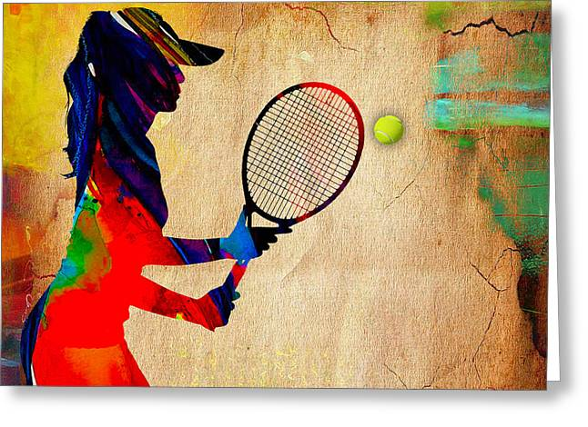 Tennis Match Mixed Media Greeting Cards - Womens Tennis Greeting Card by Marvin Blaine