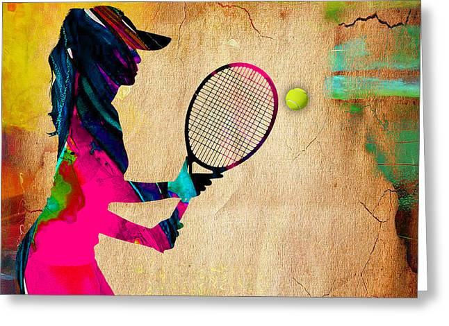 Womens Tennis Greeting Cards - Womens Tennis Painting Greeting Card by Marvin Blaine