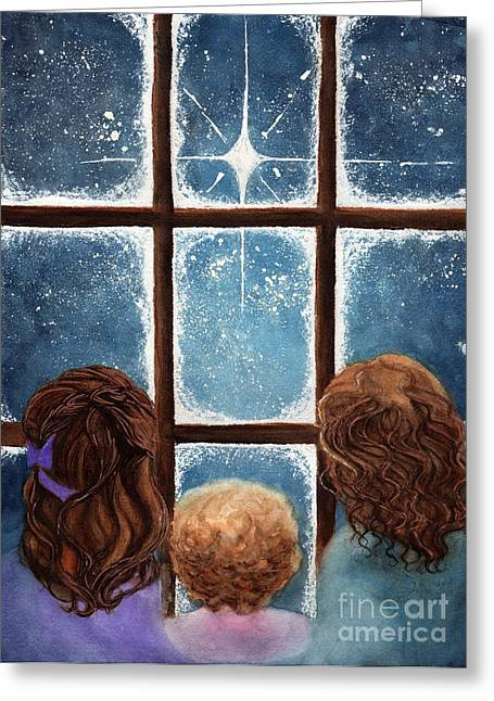 Snowy Night Night Greeting Cards - Wonder of the Night Greeting Card by Janine Riley