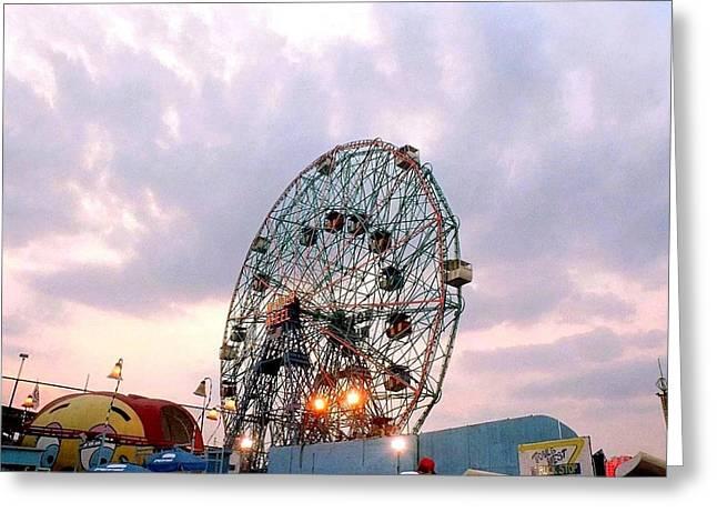 York Beach Greeting Cards - Wonder Wheel at Twilight Greeting Card by Liza Dey