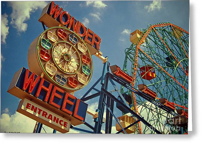 Roadside Art Greeting Cards - Wonder Wheel - Coney Island Greeting Card by Carrie Zahniser