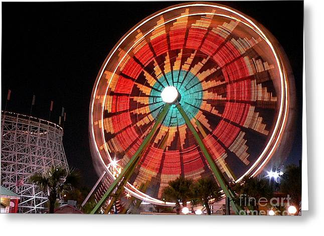 Al Powell Photography Usa Greeting Cards - Wonder Wheel - Slow Shutter Greeting Card by Al Powell Photography USA