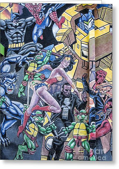 Mural Mixed Media Greeting Cards - Wonder Woman Abstract Greeting Card by Terry Rowe