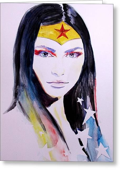 Justice League Greeting Cards - Wonder Woman Greeting Card by Lauren Anne