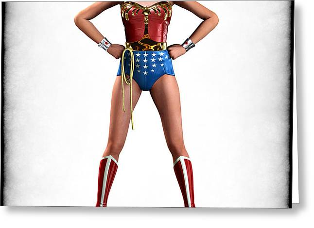 Wonder Woman Retro Greeting Card by Frederico Borges