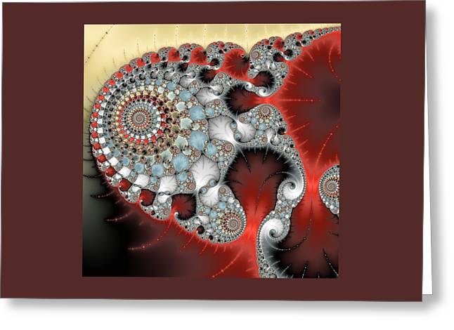 Infinite Art Greeting Cards - Wonderful abstract fractal spirals red grey yellow and light blue Greeting Card by Matthias Hauser