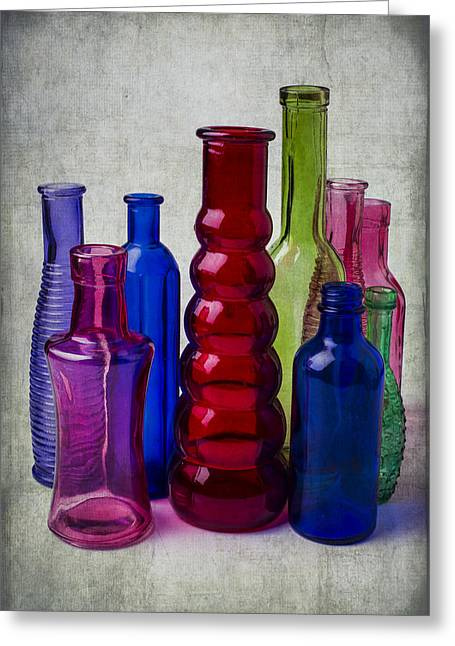 Breakable Greeting Cards - Wonderful Glass Bottles Greeting Card by Garry Gay