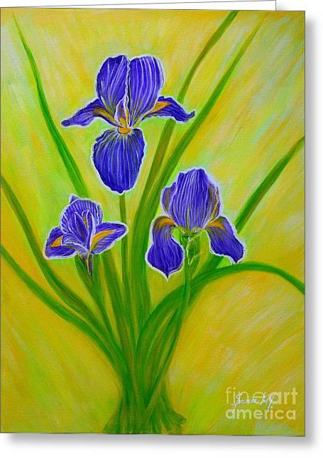 Original Paining Greeting Cards - Wonderful Iris Flowers 2 Greeting Card by Oksana Semenchenko