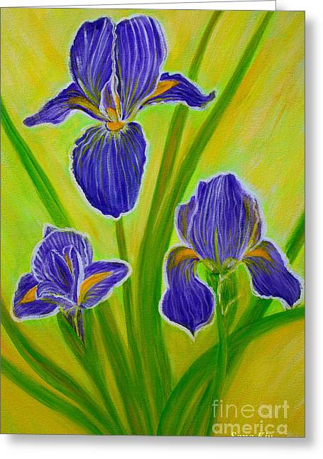 Amazing Greeting Cards - Wonderful Iris Flowers 3 Greeting Card by Oksana Semenchenko