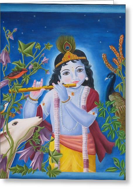 Incarnation Greeting Cards - Wonderful Krishna Greeting Card by Christine  Sherwood