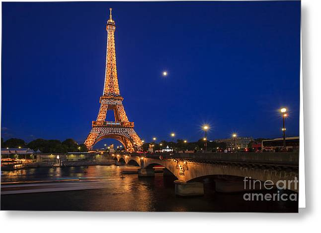 Long Street Greeting Cards - Wonderful Parisian night Greeting Card by Maria Feklistova