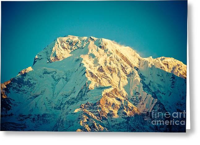 Wonderful Views Of Holy Annapurna South 7237m Greeting Card by Raimond Klavins