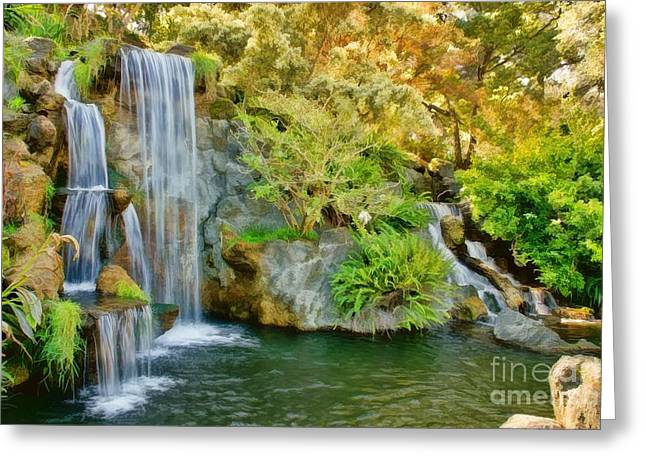 Moist Digital Art Greeting Cards - Wonderful Waterfalls Greeting Card by Peggy J Hughes