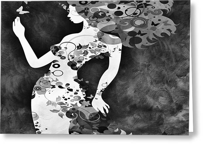 Pondering Mixed Media Greeting Cards - Wondering BW Greeting Card by Angelina Vick