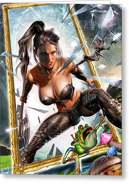 Calie Liddle Greeting Cards - Wonderland 01B CALIE Greeting Card by Zenescope Entertainment