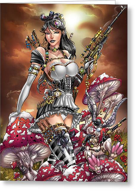 Calie Liddle Greeting Cards - Wonderland 04C Steampunk Calie Greeting Card by Zenescope Entertainment