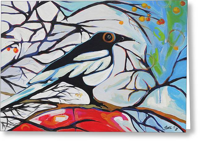 Magpies. Snow Greeting Cards - Wonderland Greeting Card by Jessi West Lundeen