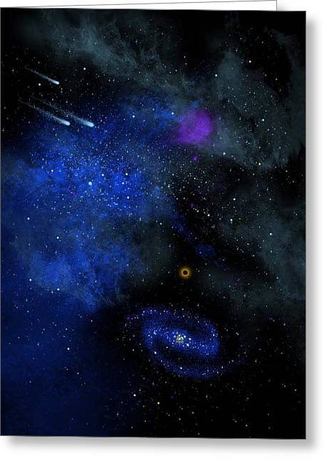 Glow In The Dark Greeting Cards - Wonders Of The Universe Mural Greeting Card by Frank Wilson