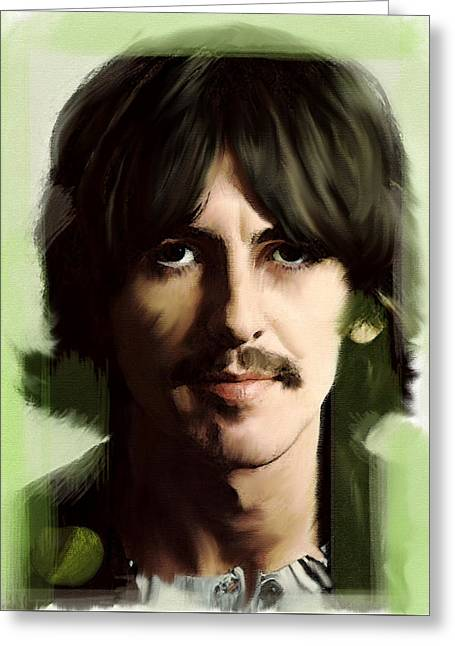 George Harrison David Pucciarelli Greeting Cards - Wondersun George Harrison Greeting Card by Iconic Images Art Gallery David Pucciarelli