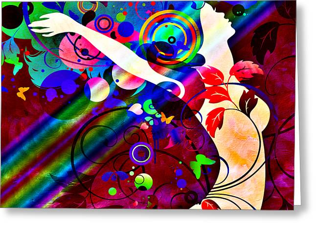 Ponder Mixed Media Greeting Cards - Wondrous At The End Of The Rainbow Greeting Card by Angelina Vick