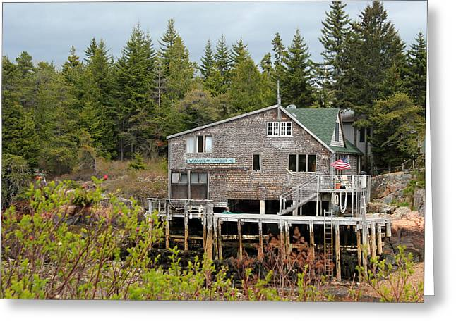 Old Maine Houses Greeting Cards - Wonsqueak Harbor Maine Greeting Card by Mary Bedy