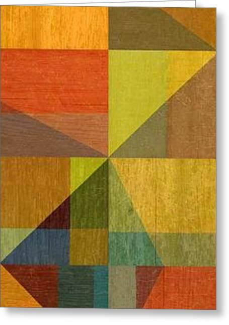 Geometric Image Greeting Cards - Wood and Angles Greeting Card by Michelle Calkins