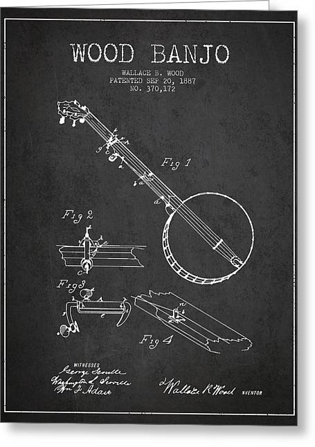 Banjo Greeting Cards - Wood Banjo Patent Drawing From 1887 - Dark Greeting Card by Aged Pixel