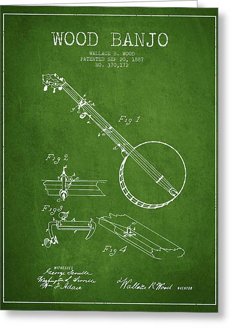 Banjo Greeting Cards - Wood Banjo Patent Drawing From 1887 - Green Greeting Card by Aged Pixel