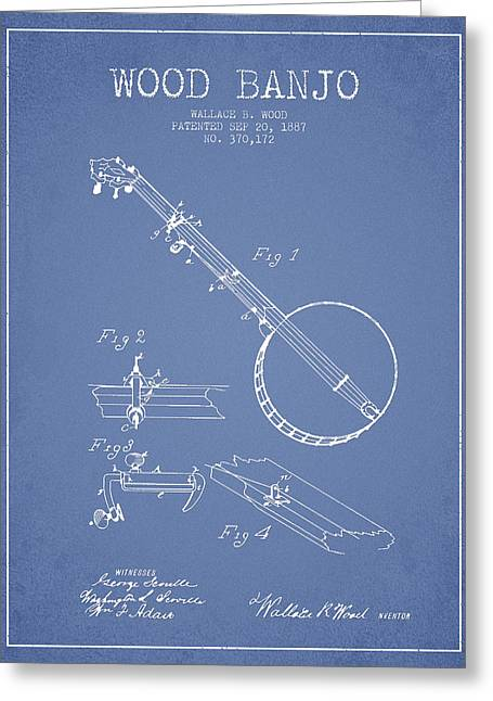 Banjo Greeting Cards - Wood Banjo Patent Drawing From 1887 - Light Blue Greeting Card by Aged Pixel