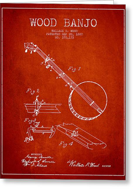 Banjo Greeting Cards - Wood Banjo Patent Drawing From 1887 - Red Greeting Card by Aged Pixel