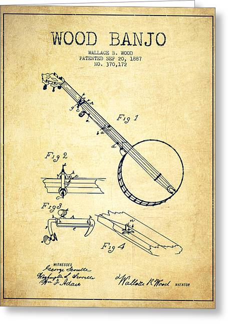 Banjo Greeting Cards - Wood Banjo Patent Drawing From 1887 - Vintage Greeting Card by Aged Pixel