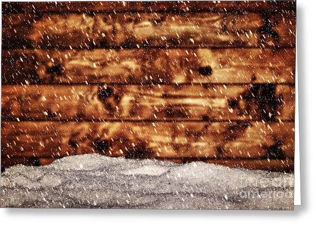 Mound Greeting Cards - Wood board and mound of snow Greeting Card by Michal Bednarek
