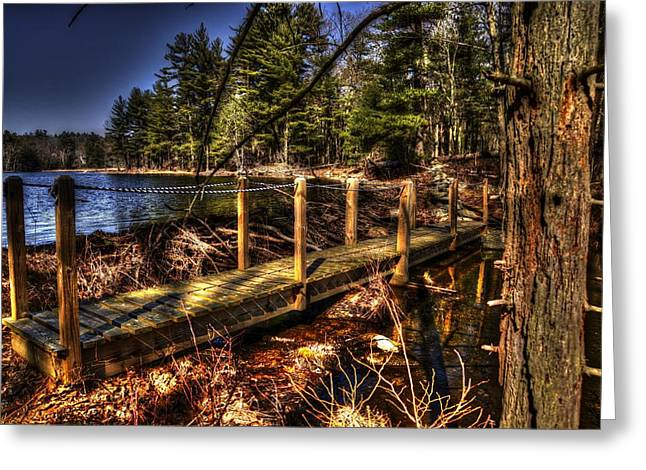 Hdr Landscape Greeting Cards - Wood Bridge Greeting Card by Craig Incardone