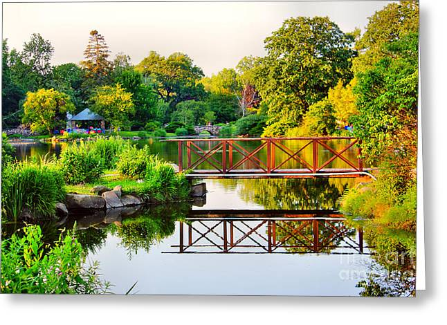 Pond In Park Greeting Cards - Wood Bridge Reflection Greeting Card by Judy Palkimas