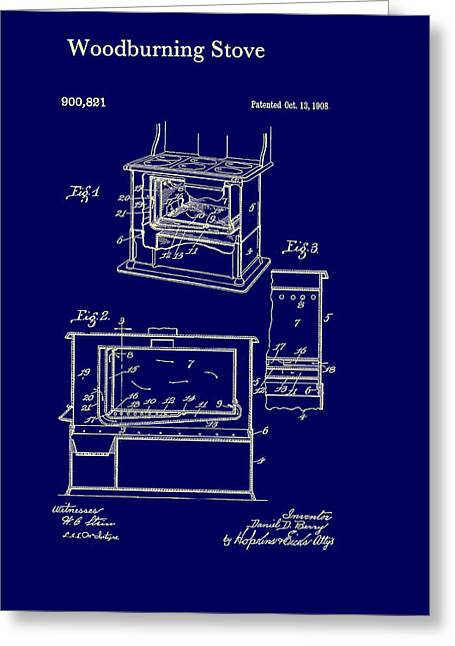 Iron Drawings Greeting Cards - Wood Burning Stove Patent 1908 Greeting Card by Mountain Dreams