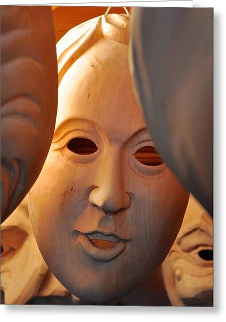 Female Mask Greeting Cards - Wood-carved smile Greeting Card by Matt MacMillan