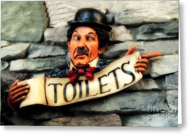 Mustaches Mixed Media Greeting Cards - Wood Carved Toilet Sign Greeting Card by Marjorie Imbeau